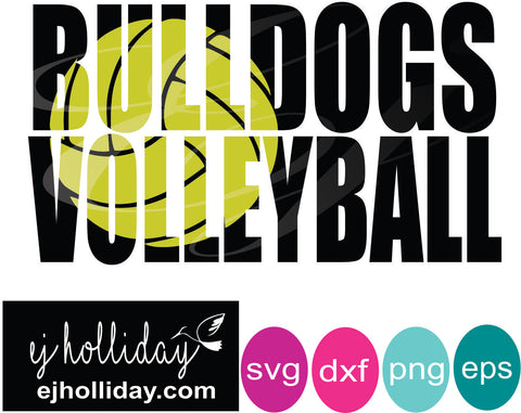 Bulldogs volleyball knockout svg dxf eps png Vector Graphic Design Digital Cutting File Instant Download Cameo Silhouette Cricut