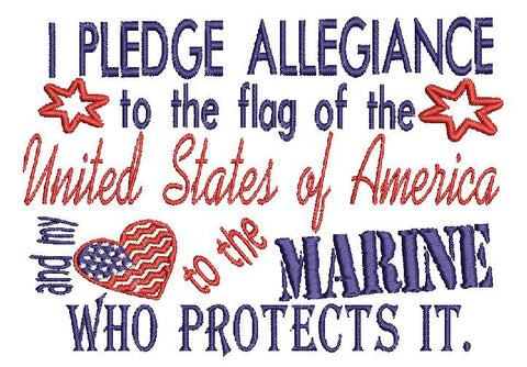 Marine Military USA Embroidery Design 5X7