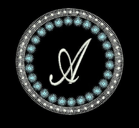 Circle Polka Dot Monogram A Embroidery Design 4X4 5X7 6X10 and 8X12
