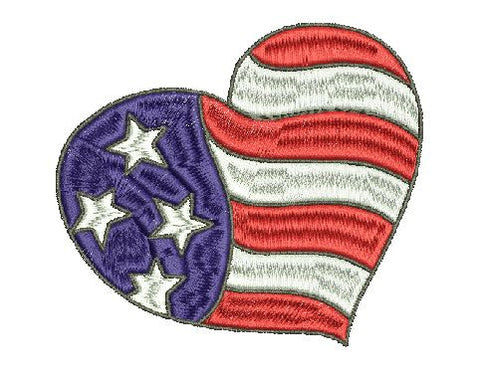 USA HEART  Military USA Embroidery Design 4X4