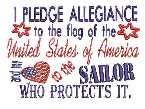 Sailor Navy Military USA Embroidery Design 5X7