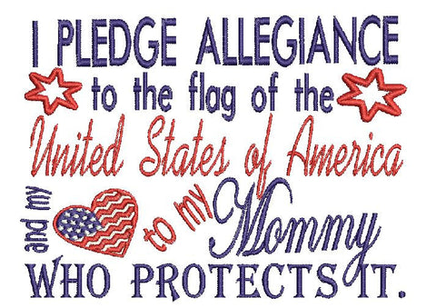 Mommy Military USA Embroidery Design 5X7