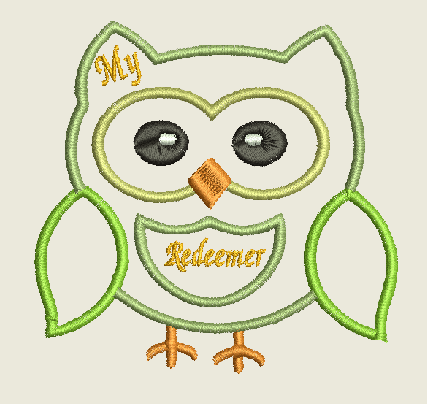 Redeemer Owl Machine Embroidery Design 4X4