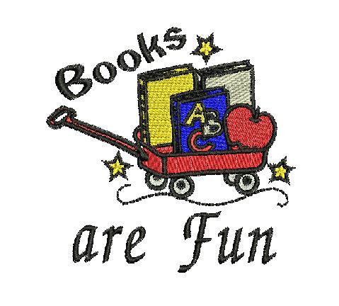 BOOKS ARE FUN Machine Embroidery Design 4X4