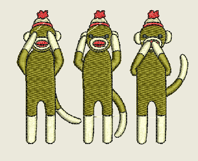 See No Hear No Speak No Evil Monkeys  Machine Embroidery Design 4X4