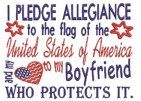 Boyfriend Military USA Embroidery Design 5X7