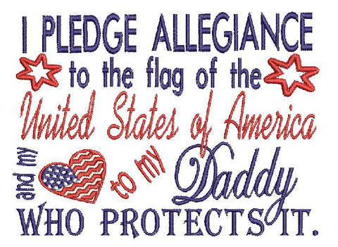 Daddy Military USA Embroidery Design 5X7