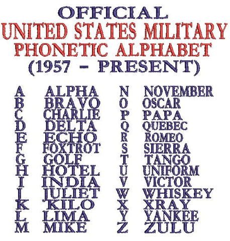 United States Military Phonetic Alphabet 1957 to present USA Embroidery Design 5X7