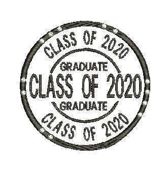 CLASS OF 2020 GRADUATE Machine Embroidery Design 4X4