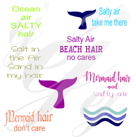Beach Hair SVG Ocean Air Salty Hair Salty Air Beach Hair no care Salt in the Air Sand in my hair Mermaid hair don't care SVG DXF PDF JPG JPEG VECTOR Graphic Design Digital Cutting File Instant Download Cameo Silhouette Cricut