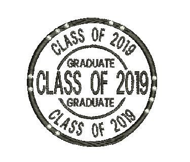 CLASS OF 2019 GRADUATE Machine Embroidery Design 4X4