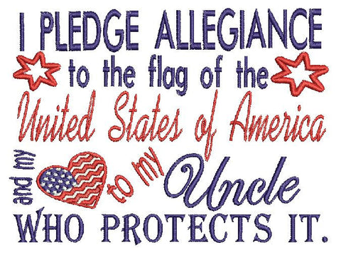 Uncle Military USA Embroidery Design 5X7
