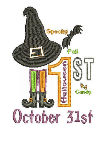 First Halloween 1st Halloween Machine Embroidery Design 5X7 It's Fall