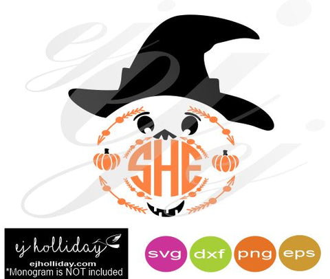 Witch Pumpkin Monogram Frame SVG EPS DXF PNG VECTOR Graphic Design Digital Cutting File Instant Download Cameo Silhouette Cricut