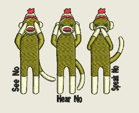 See No Hear No Speak No Evil Monkeys with the words Machine Embroidery Design 4X4