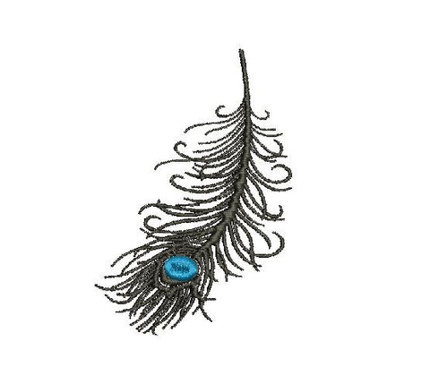 Peacock Feather MachineEmbroidery Design 4X4