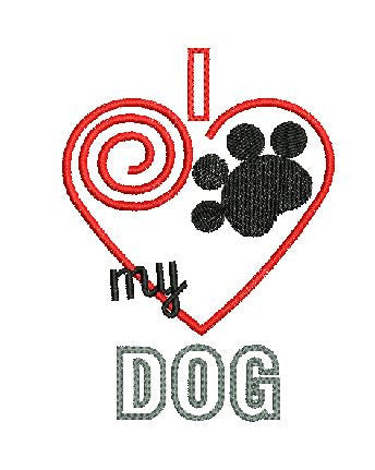 I Heart My Dog Machine Embroidery Digital File Instant Download Graphic Design