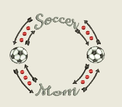 Soccer Mom Monogram Frame MEB 4X4 Machine Embroidery Design