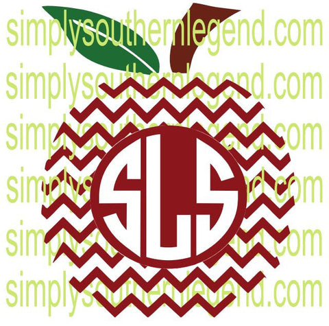Apple Chevron Monogram Frame Vinyl Design Instant Download Silhouette Cricut SVG DXF SCUTS2