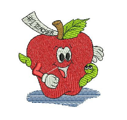 NUMBER 1 TEACHER APPLE Machine Embroidery Design 4X4