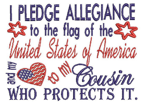 Cousin Military USA Embroidery Design 5X7