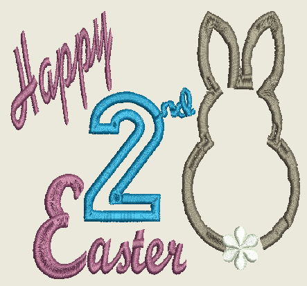 Happy 2nd Easter Machine Embroidery Design 4X4, 5X7 and 6X10 Hoop