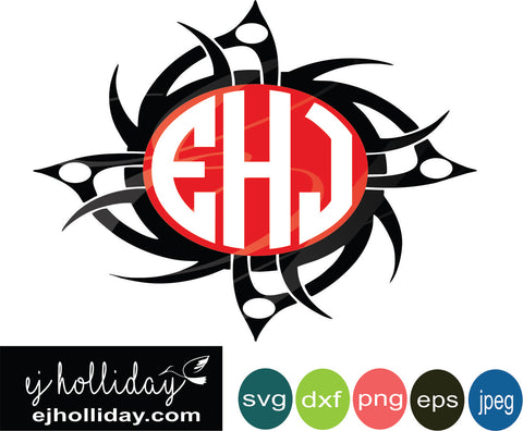 Celtic Monogram Frame Polka Dots svg eps dxf png jpeg jpg digital cutting design