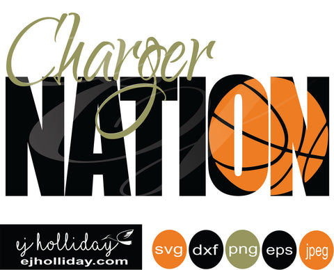 Charger Nation basketball knockout 19 svg eps png dxf jpeg jpg vector Graphic Design Digital Cutting File Instant Download Cameo Silhouette Cricut