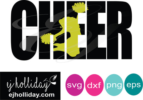 Cheer Knockout svg dxf eps png Vector Graphic Design Digital Cutting File Instant Download Cameo Silhouette Cricut
