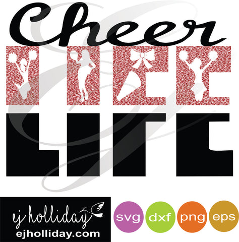 Cheer LIFE svg dxf eps png Vector Graphic Design Digital Cutting File Instant Download Cameo Silhouette Cricut