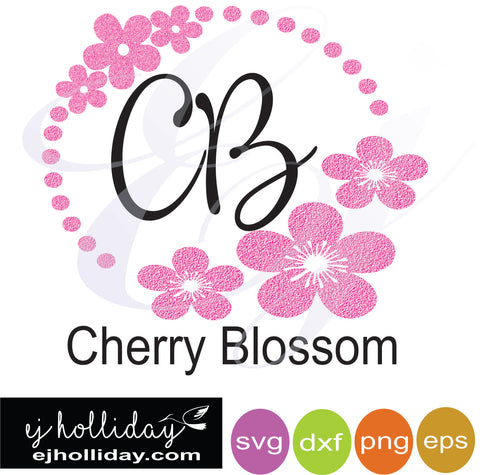 Cherry Blossom CB svg dxf eps png Vector Graphic Design Digital Cutting File Instant Download Cameo Silhouette Cricut