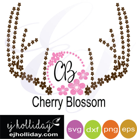 Cherry Blossom deer antlers svg dxf eps png Vector Graphic Design Digital Cutting File Instant Download Cameo Silhouette Cricut