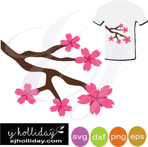 Cherry Blossom flowers and branch svg dxf eps png- Digital Cutting Design Vector File Graphic Design Instant File pink fuchsia spring svg dxf eps png Vector Graphic Design Digital Cutting File Instant Download Cameo Silhouette Cricut