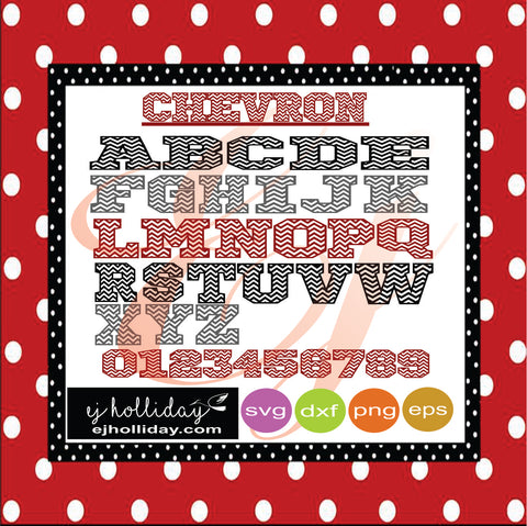 Chevron A-Z Font with numbers svg dxf eps png Vector Graphic Design Digital Cutting File Instant Download Cameo Silhouette Cricut