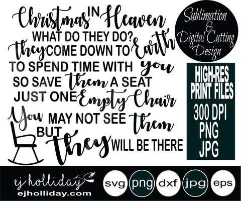 Christmas in Heaven What do They do svg dxf eps png VECTOR Graphic Design Digital Cutting File Instant Download Cameo Silhouette Cricut