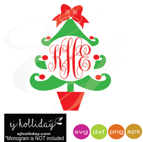 Christmas Tree monogram frame svg dxf eps png Vector Graphic Design Digital Cutting File Instant Download Cameo Silhouette Cricut