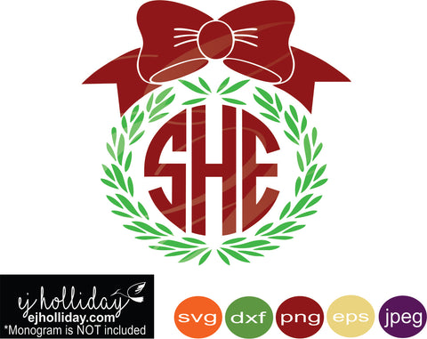 Christmas Wreath Silhouette Vector.Christmas Wreath Wheat Straw Monogram Svg Dxf Eps Png Jpeg Jpg Vector Graphic Design Digital Cutting File Instant Download Cameo Silhouette Cricut