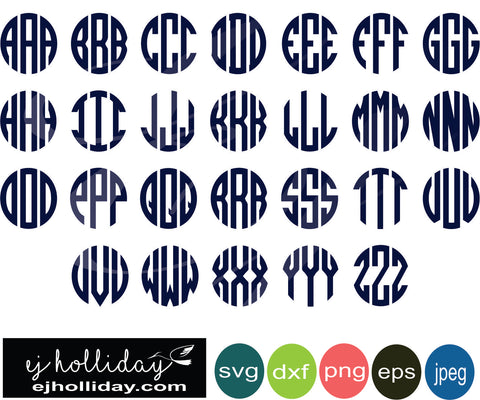 Circle Monogram A to Z all letters 19 eps png dxf jpeg jpg vector Graphic Design Digital Cutting File Instant Download Cameo Silhouette Cricut