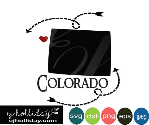 Colorado silhouette heart arrows 18 svg eps dxf png jpeg jpg VECTOR Graphic Design Digital Cutting File Instant Download Cameo Silhouette Cricut