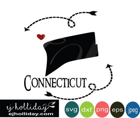 Connecticut silhouette heart arrow 18 svg eps dxf png jpeg jpg VECTOR Graphic Design Digital Cutting File Instant Download Cameo Silhouette Cricut