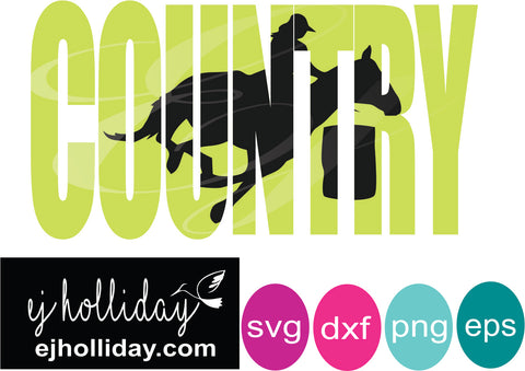 Country Barrel Racer knockout svg dxf eps png Vector Graphic Design Digital Cutting File Instant Download Cameo Silhouette Cricut