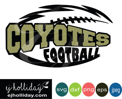Coyotes Football Knockout design svg eps jpeg jpg png dxf Graphic Design Digital Cutting File Instant Download Cameo Silhouette Cricut