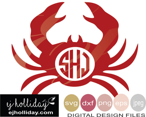 Crab Monogram 19 svg eps png dxf jpeg jpg VECTOR Graphic Design Digital Cutting File Instant Download