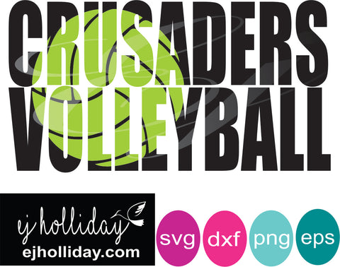 Crusaders high school volleyball knockout design SVG EPS DXF JPG JPEG VECTOR Graphic Design Digital Cutting File Instant Download Cameo Silhouette Cricut