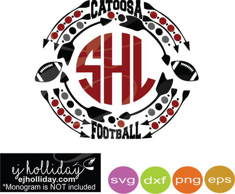 Catoosa Football Monogram DC svg dxf eps png jpg Vector Graphic Design Digital Cutting File Instant Download Cameo Silhouette Cricut
