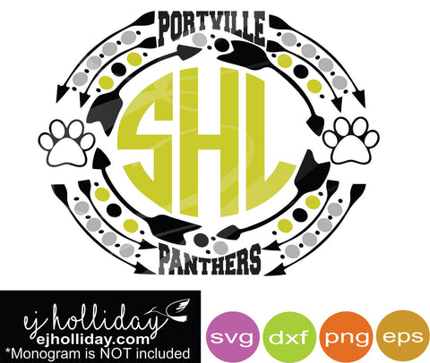 Portville Panthers svg dxf eps png jpg Vector Graphic Design Digital Cutting File Instant Download Cameo Silhouette Cricut