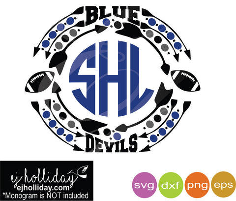 Blue Devils Football Monogram Dc svg dxf eps png Vector Graphic Design Digital Cutting File Instant Download Cameo Silhouette Cricut