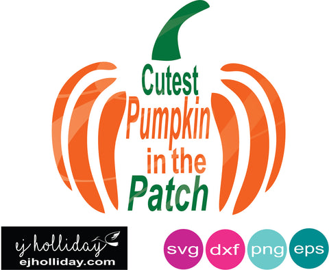 Cutest pumpkin in the patch svg dxf eps png jpg Vector Graphic Design Digital Cutting File Instant Download Cameo Silhouette Cricut