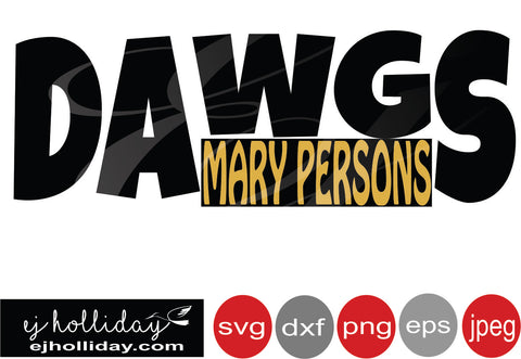 Dawgs Mary Persons 19 svg eps png dxf jpeg jpg VECTOR Graphic Design Digital Cutting File Instant Download