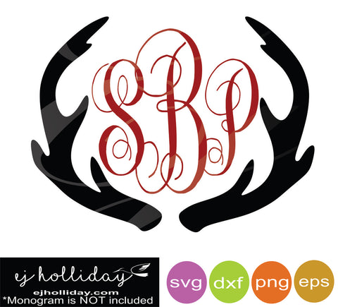 Deer Antlers Monogram DC svg dxf eps png Vector Graphic Design Digital Cutting File Instant Download Cameo Silhouette Cricut